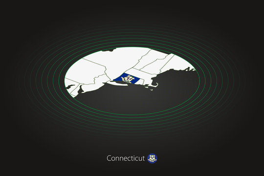 Connecticut map in dark color, oval map with neighboring US states.