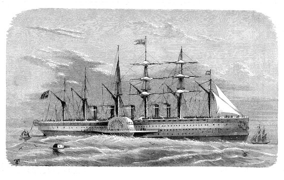 The SS Great Eastern iron sailing steamship laying transoceanic communication cables on the Atlantic seabed