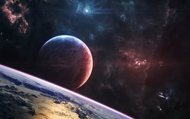 Planets in deep space. Nebulae in the light of red and blue stars. Science fiction. Elements of this image furnished by NASA