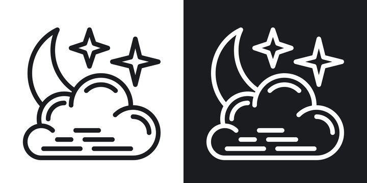 Night cloudy icon for weather forecast application or widget. Moon and stars in the night sky behind the clouds. Two-tone version on black and white background
