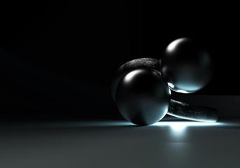 Ladies Luxury Engagement Ring with Black TAHITI Pearls on black background. 3D Rendering