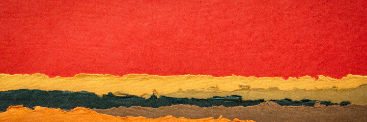 red sunset abstract landscape created with handmade Indian paper