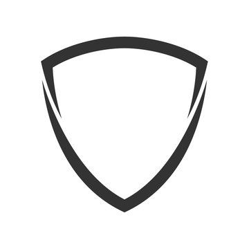 shield logo template flat illustration, shielding icon in black and white color, security and protector symbol isolated on white
