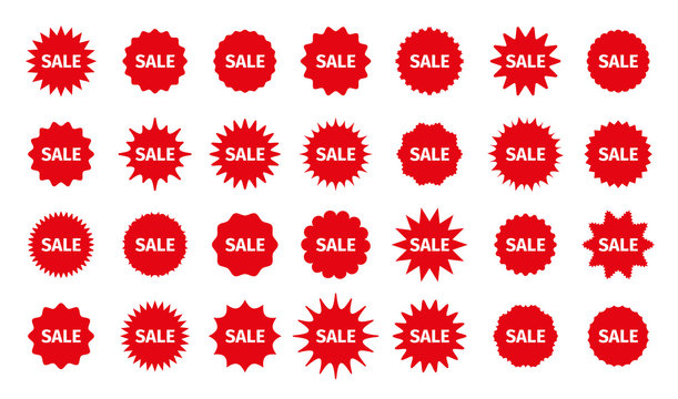 Sale star burst price stickers. Vector. Discount promo boxes, stamps. Circle, round splash badges. Red tag product labels. Set of starburst shapes isolated on white background. Flat illustration.