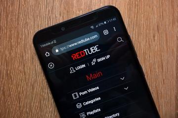 KONSKIE, POLAND - December 28, 2018: Redtube website (www.redtube.com) displayed on smartphone
