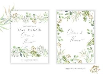 Wedding greenery cards, poster design. Green leaves, fern border, frame, white background. Vector illustration. Romantic floral arrangements. Invitation template Fototapete