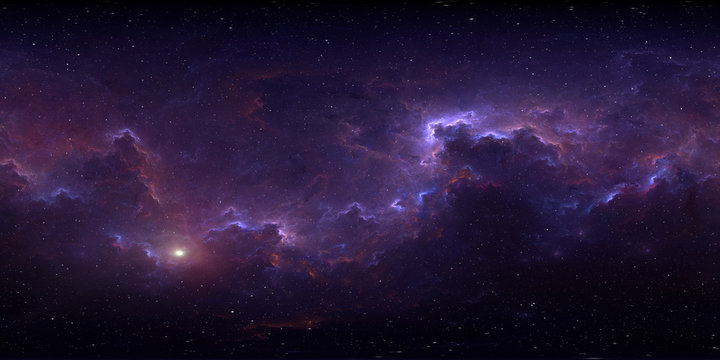 360 degree space background with nebula and stars, equirectangular projection, environment map. HDRI spherical panorama.
