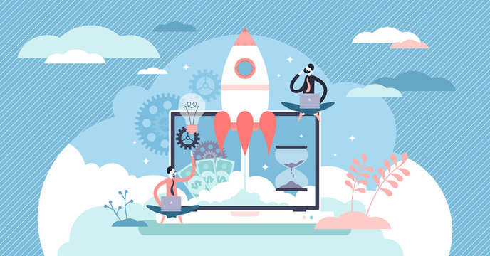 Startup company launch concept, flat tiny person vector illustration