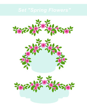 """Frames set """"Spring flowers"""". Branches with leaves and pink flowers. Raster clip art."""