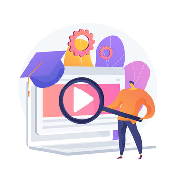 Internet lessons searching. Remote university, educational programs, online classes website. High school student with magnifying glass cartoon character. Vector isolated concept metaphor illustration.