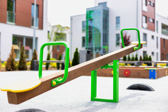 Close up photo of seesaw in playground