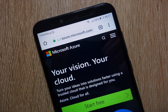 KONSKIE, POLAND - December 28, 2018: Microsoft Azure website (azure.microsoft.com) displayed on smartphone