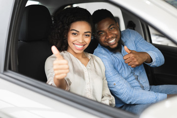 Happy Couple Gesturing Thumbs-Up Sitting In Car In Dealership Store