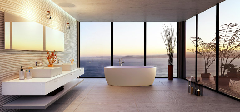 Stylish bathroom illustration with sea view.