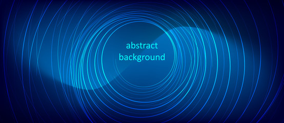 Abstract blue background with glowing neon lines