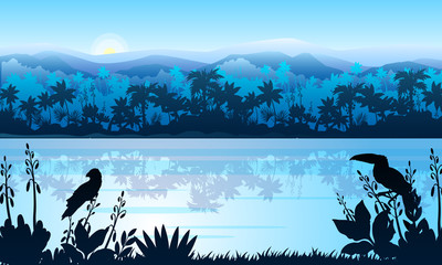 Papiers peints Piscine Stock horizontal landscape with rainforest, river, parrot and toucan in mist. Jungle panorama with palm trees silhouette and rising sun. Exotic vector banner in blue for landing pages, advertisements