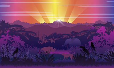 Poster Violet Tropical view with jungle, elephant, rhino, leopard, exotic birds and plants, hills. Panoramic rainforest background with sunset rays and wild animals' silhouettes. African landscape in violet colors