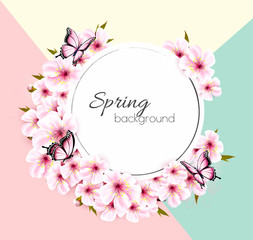 Wall Mural - Spring nature background with a pink sakura blossom. Vector
