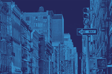 Buildings of SoHo in New York City with blue color overlay
