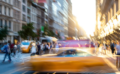 Foto auf Leinwand New York New York City blurred abstract street scene with people and taxis in Midtown Manhattan