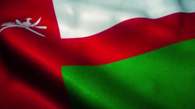 Oman flag waving in the wind. National flag of Oman. Sign of Oman. 3d illustration