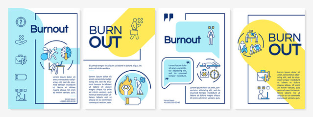 Burnout brochure template. Emotional exhaustion. Stress. Flyer, booklet, leaflet print, cover design with linear icons. Vector layouts for magazines, annual reports, advertising posters