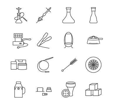 Hookah accessories flat icon set. Can be used to design an online store. Vector illustration component parts for shisha.