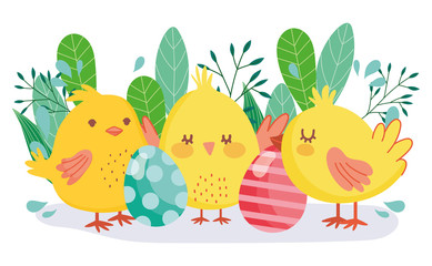 Wall Mural - happy easter cute chickens decorative eggs foliage decoration