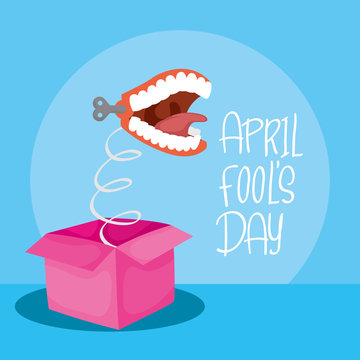 happy april fools day card with surprise box and crazy mouth