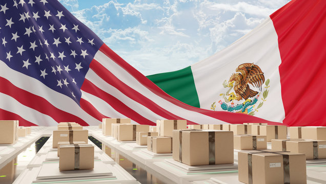 flag of America and Mexico with postal packages logistic center 3d-illustration