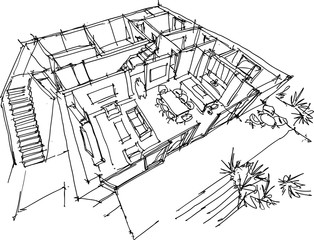 hand drawn sketch of Perspective cut away diagram of living room with kitchen and terrace in the ground floor of detached house