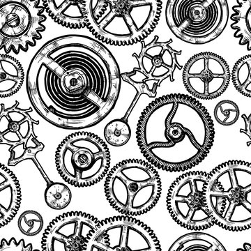 seamless pattern with different gears.