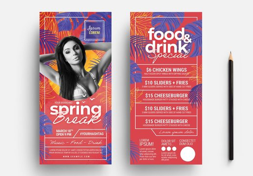 Flyer Layout with Tropical Leaf Illustrations