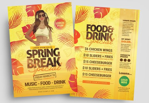 Flyer Layout with Dj and Tropical Leaf Illustrations