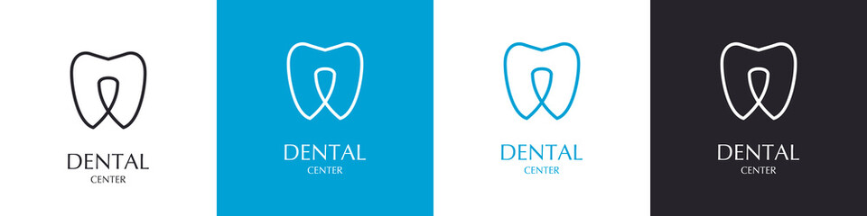 Logos of the tooth. Set of icons in different colors. Dental Center. Collection.
