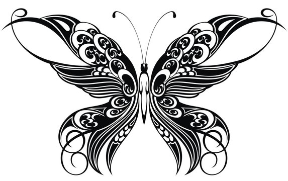 Decorative abstract doodle design butterfly