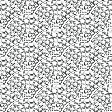 Seamless stonework pattern/ Black and white stone wall texture/ Cobblestone pavement background/ Hand drawn vector illustration