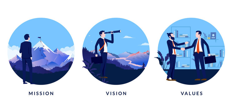 Business mission, vision and values. A set of images to use in presentation or website stating our mission, our vision and our values. Vector illustration.