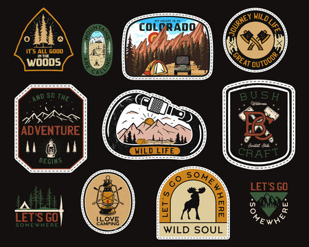 Vintage camp patches logos, mountain badges set. Hand drawn stickers designs. Travel expedition, backpacking labels. Outdoor hiking emblems. Logotypes collection. Stock vector.