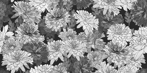 Vector seamless floral pattern with monochrome flowers chrysanthemum, leaves on black background.Hand drawn.For design textile, wallpapers, wrapping paper, prints. Watercolor style.Stock illustration.