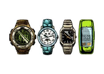 Wall Mural - set of men's wristwatches