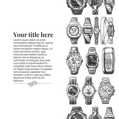 Wall Mural - template with wristwatches.