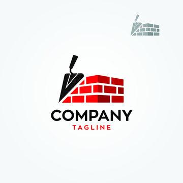 Masonry brick wall construction logo template