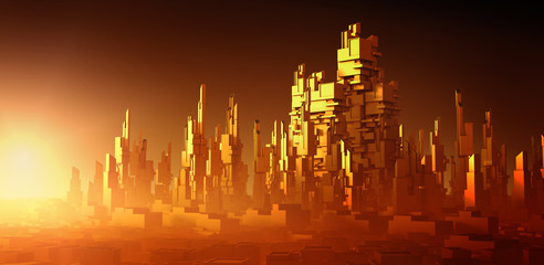 Apocalyptic desert storm. Futuristic architecture rendering. Science fiction megacity in sunset colors. 3D Rendering