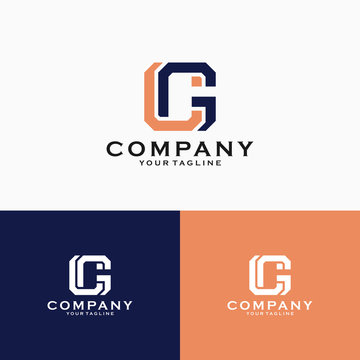 C and G letter logo design emblem vector illustration bold and strong style logo template