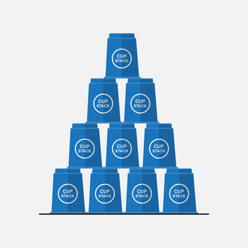 Blue stack cups game vector flat design.