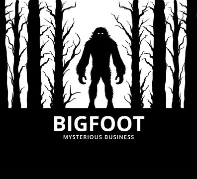 mysterious creature bigfoot in the middle of jungle vector poster design