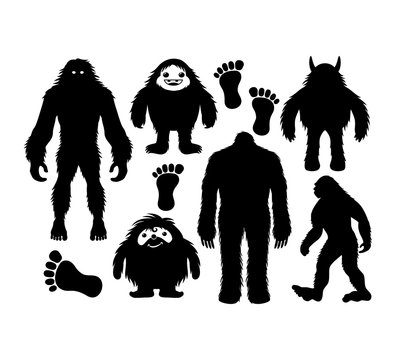 hairy bigfoot and cute yeti character silhouette vector graphic design set