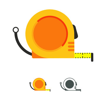 Hand meter tool, measuring equipment, tape measure vector icon in flat style.Roulette construction symbol.Graphic