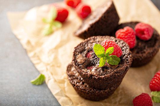Homemade brownie bites with raspberries, chocolate cake treat